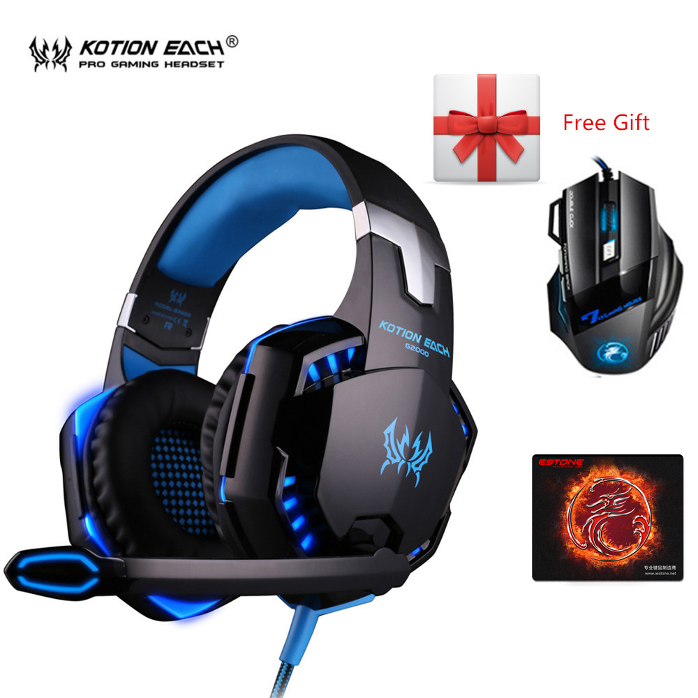3pcs/Set G2000 Subwoofer Gaming Headphones with Mic for Computer Headset Gamer+ iMICE X7 2400dpi Mouse PC Mice + Large Mousepad each g8200 gaming headphone 7 1 surround usb vibration game headset headband earphone with mic led light for fone pc gamer ps4