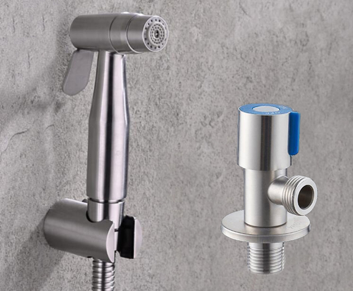 Free shipping stainless steel two function Toilet Hand held Bidet Diaper Sprayer Shower and stainless steel angle valve BD888