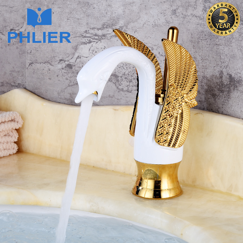 PHLIER Hotel Luxury Copper Bathroom Mixer White&Gold Swan Faucet Wash Basin Faucet Water Mixer Taps Hot Cold Basin Faucets B1005 bathroom faucet into the wall cold and hot water taps embedded type mixer double handles table basin wash basin faucet torneira
