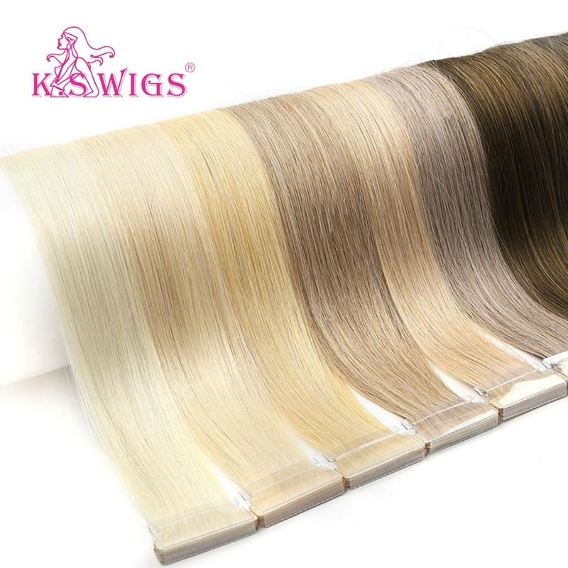 K.S парики 16 ''20'' 24 ''прямые волосы, завязанные вручную, волосы remy для наращивания, двойной нарисованный пучок натуральных волос из искусственн