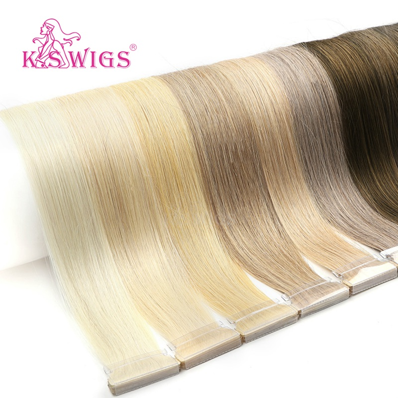 K.S WIGS 16'' 20'' 24'' Straight Hand Tied Tape In Remy Hair Extensions Double Drawn PU Skin Weft Human Hair 80pcs