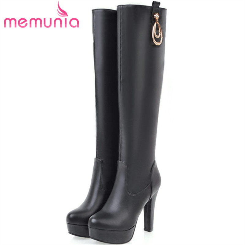 MEMUNIA Large size 34-45 knee high boots for women autumn winter high heels shoes woman PU soft leather platform boots female memunia 2017 autumn new arrive long boots for women solid zip knee high boots large size 34 43 fashion high heels boots