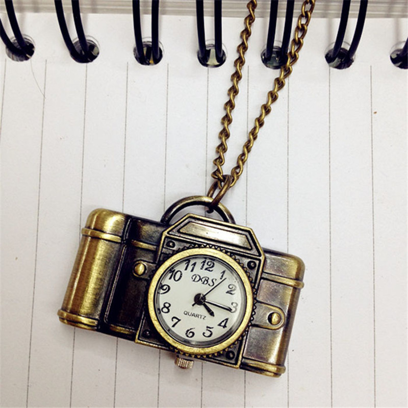 Dropship Unisex Antique Bronze Camera Design Pendant Pocket Watch Vintage Quartz Pocket Watch with Necklace Gift for Women bronze quartz pocket watch old antique superman design high quality with necklace chain for gift item free shipping