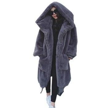 2019 New Casual Long sleeve Women Fur coat Winter Warm hooded Large size woman Medium length Solid color Fur &amp Faux Fur Women