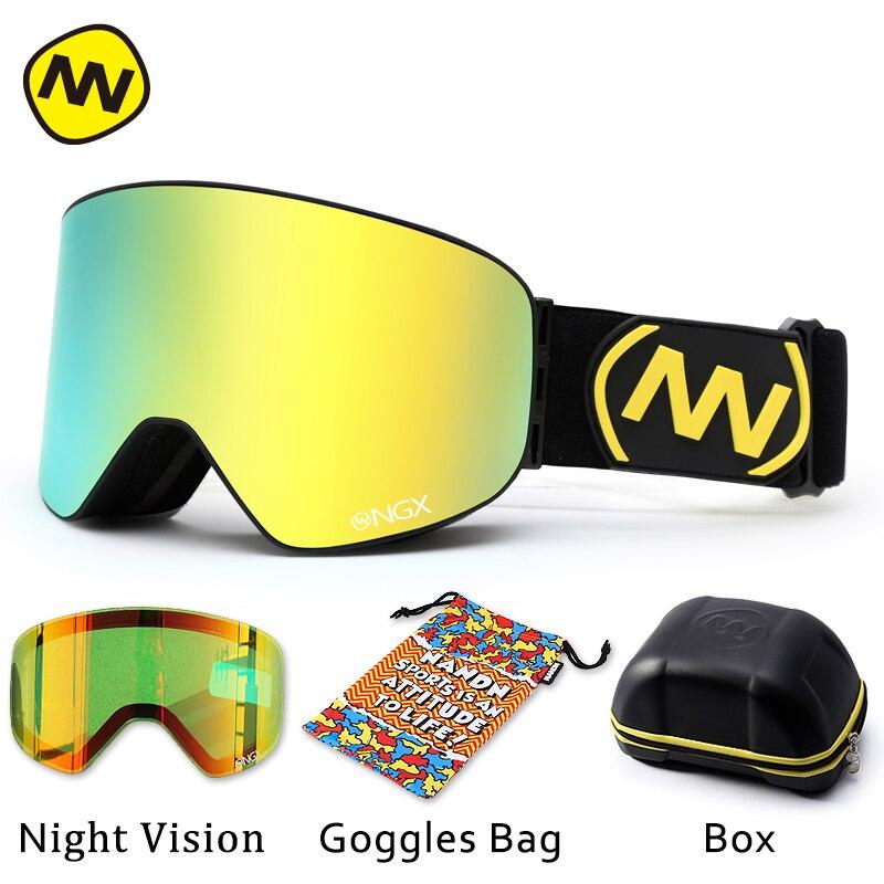NANDN лыжные очки, очки для катания на лыжах, двойные линзы, UV400, анти туман, для взрослых, сноуборд, лыжные очки, женские, мужские, снежные очки - 4