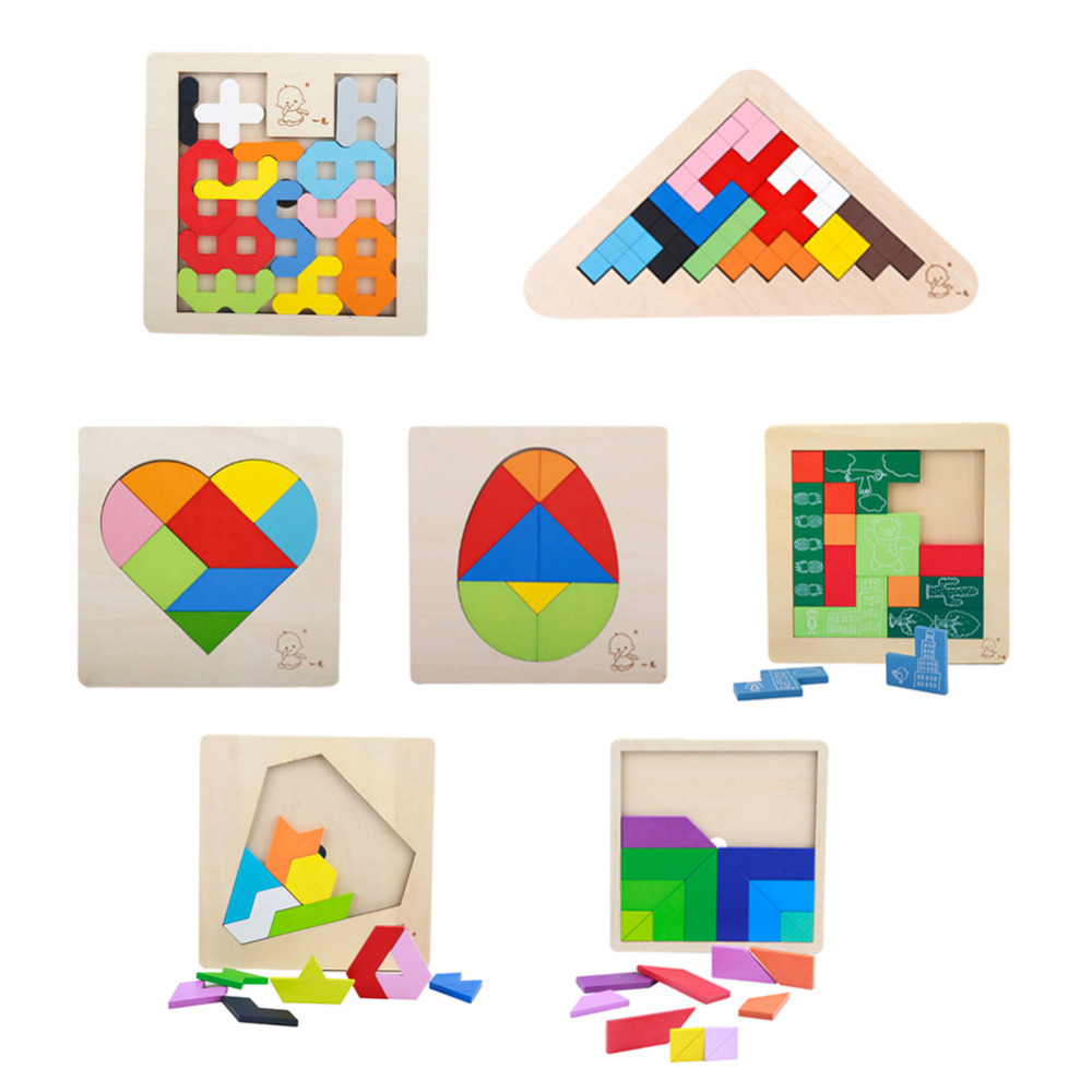 цена на Kids 3D Jigsaw Puzzle Wooden Toys Children Wood Tangram Brain Teaser Toys Child Geometry Cognition Learning Educational Toys