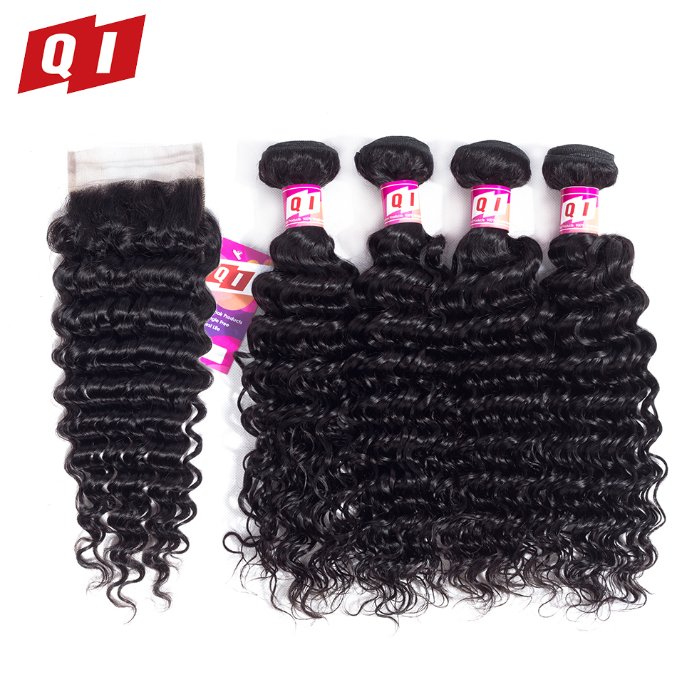 QI Hair Products Deep Wave Bundles With Closure 4 4 Lace Closure Human Hair Extensions Natural