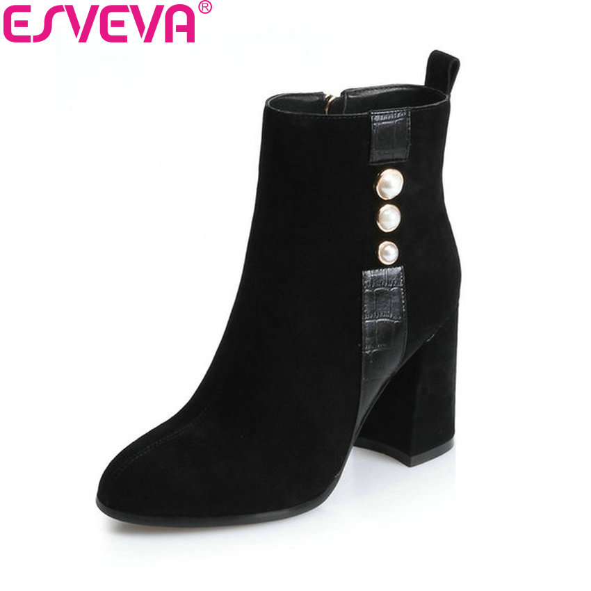 ESVEVA 2018 Women Boots Square High Heels Appointment Short Plush Round Toe Cow Suede Ankle Boots Black Ladies Boots Size 34-43 esveva 2018 women boots elegant square high heels pointed toe ankle boots appointment lining warm fur pu ladies shoes size 34 39