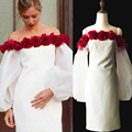 Star Quality In Summer And Autumn 2016 New Fashion Collar Bra Red Flower Decoration Gauze Dress Lantern Sleeve Soft Fabric Women