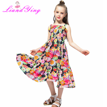 Big Girls Twirl Dress Summer Sleeveless Chiffon Kids Girls Dress Teens Girls Vestidos Floral Girl Dress 2-12 Years Платье
