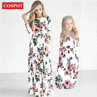 COSPOT Mother And Daughter Beachwear Long Dress Girls And Mom Bohemian Long Sleeved Floral Dress Princess