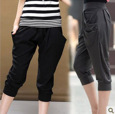 Pantalones Mujer Brand   Capris   High Waist Solid   Pants   Lady's Fitness Active Casual Loose Harem   Pants   Spring And Summer S2779