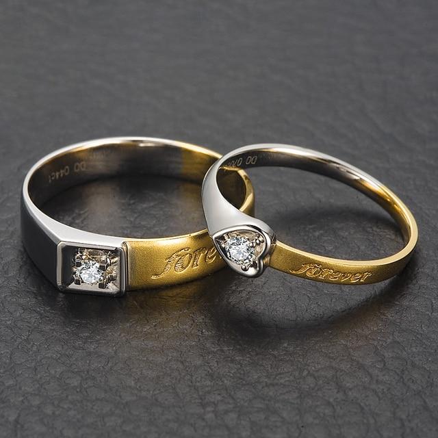 18K Two Tone Gold Diamond Wedding Band Couple Ring Set 004007ct