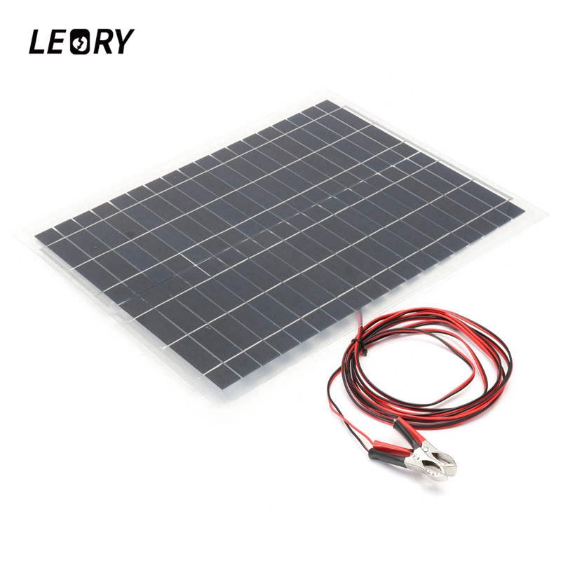 LEORY <font><b>20W</b></font> 12V <font><b>Solar</b></font> Panel DIY Sunpower Polycrystalline Flexible <font><b>Solar</b></font> Cells Battery <font><b>Charger</b></font> For Car Battery Car RV Boat home
