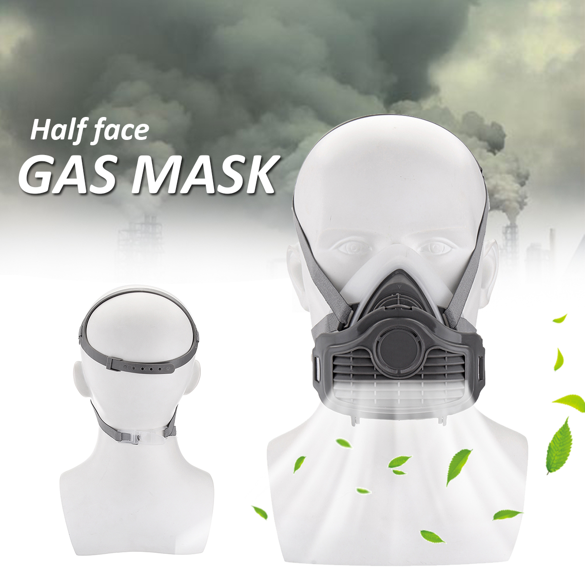 Safety Respiratory Gas Mask Half Face Filter Anti Dust Smoke Protective Mask for Painting Spraying Industrial Pesticide Chemical