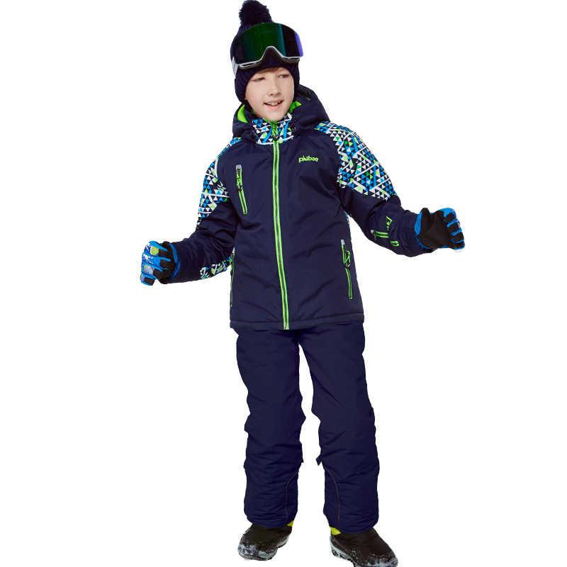 2019 Musim Dingin Anak Ski Set Outdoor Snowboard Jaket Anak Skiing Tahan Air Hoodie Terno Esqui Hangat dan Tahan Angin