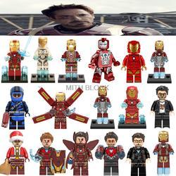 Для Legoing Железный человек Марвел Мстители с эмблемами супергероев Mk34 Mk35 Marvel Железный человек Железный Человек строительный блок Legoing Ironman