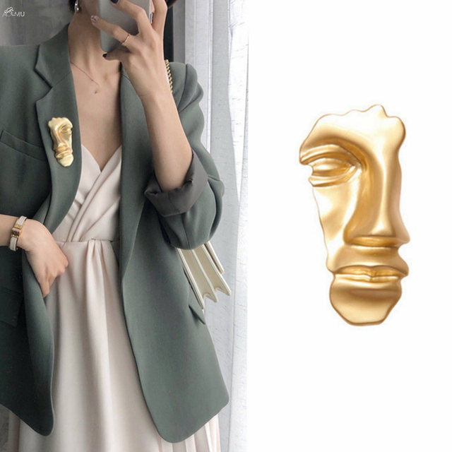 1PC Vintage Metal Abstract Face Mask Gold Color Brooches Pins Collar For Women Dance Party Fashion Jewelry Accessories