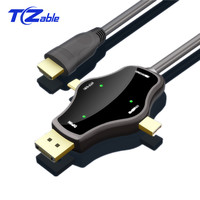 USB C HDMI Cable 4K 30Hz 3 In 1 Multi Function Conversion Line For macbook pro Display Port Type C MINI Display Port Male Cable