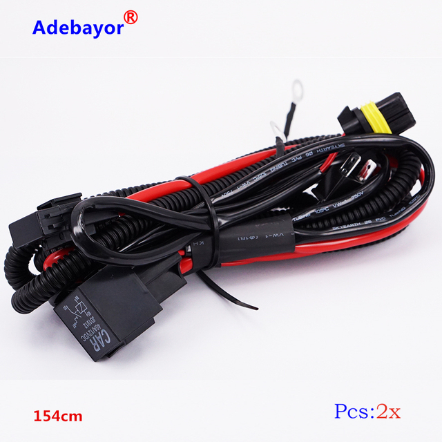 2 piece H7 Car HID Xenon Conversion Harness Fuse Relay Wire Wiring ...