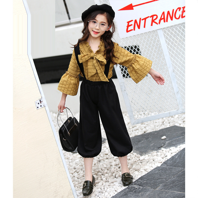 2018 New Spring Autumn Girls Clothes Sets High Quality 2pcs Flare Sleeve shirt+bloomers Pants Suit Kids Girl Clothing Set JL12 new 2014 spring autumn girls cartoon spider man suit boy long sleeve pants clothing set high quality baby kids casual clothing