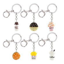 Imitation food Keychain Resin Milk biscuit Hamburger Coffee Fries Popcorn Dag Pendant Men women Wallet Key ring
