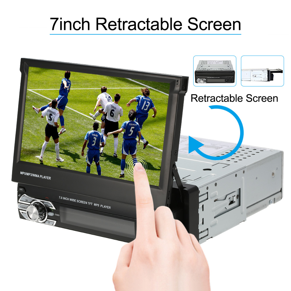 7inch Retractable MP5 Player Car Stereo Radio Player Multimedia Entertainment with Bluetooth FM USB SD For