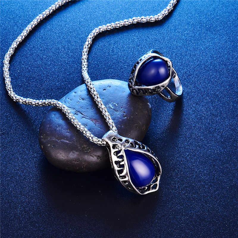 Vintage Dubai Schmuck-Sets Für Frauen Antike Silber Farbe Geschnitzte Große Wasser Tropfen Harz Stein Anhänger Halskette Ohrringe Ring Set
