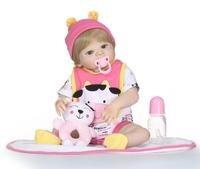 23'' Newborn Doll Can Bathe Full Silicone Vinyl Body Reborn Dolls Baby Princess Brinquedos bonecas Birthday Gifts For Girl