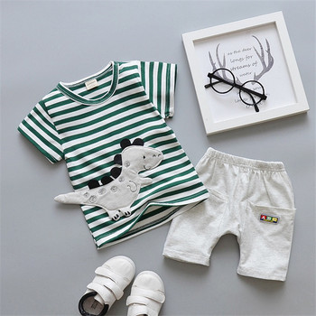Newborn Cartoon Striped Clothes Suit for Baby Boys 2Pcs