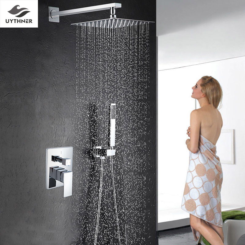 Uythner Square Chrome Rainfall Shower Head Bathroom Faucet W/ Hand Shower Mixer Tap Wall Mount runail лампа led 9 вт розовая
