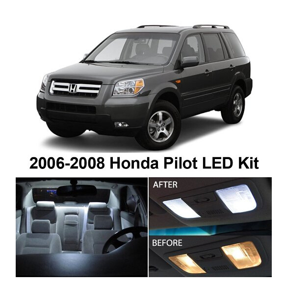 Free Shipping 12Pcs/Lot auto accessories led light bulbs for cars LED Car Lights car interior lighting For Honda Pilot 2006-2008