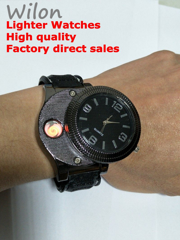 1pcs Hot F669 Rechargeable USB Lighter Watches Electronic watch Men's Quartz Wristwatches Windproof Flameless Cigarette Lighter lighter watch men s sports casual quartz watches with leather strap windproof flameless cigarette lighter usb charging f665