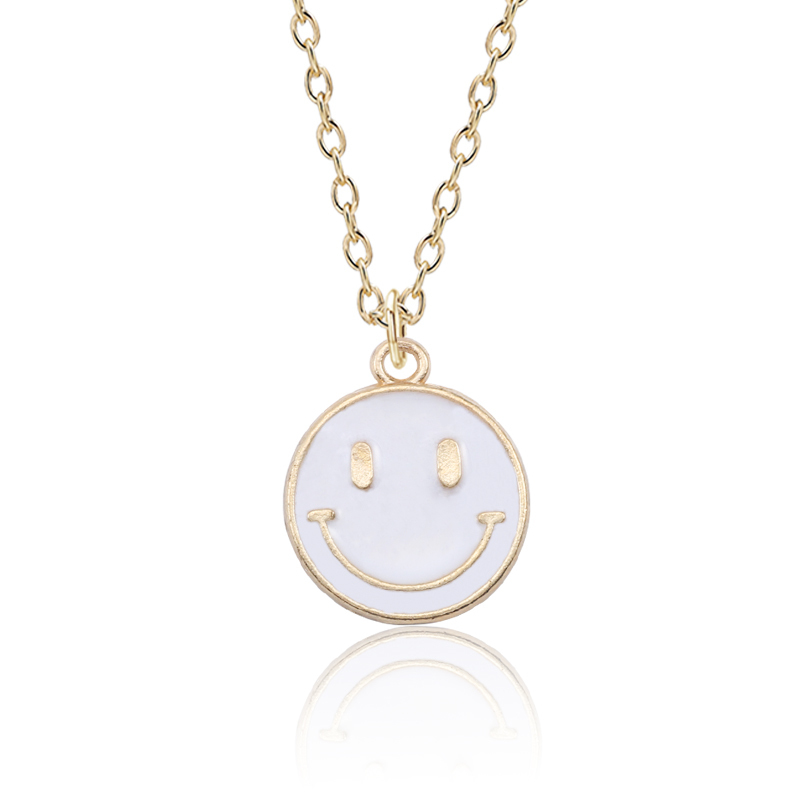 Lovely-Smiling-Face-Pendant-Necklace-Female-Fashion-Enamel-Yellow-Pink-Black-Smile-Round-Gold-Chain-Women