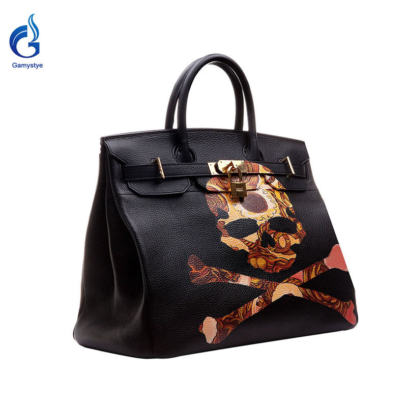 GAMYSTYE Graffiti Custom Women Messenger Bags Hand Painted bags painting rock punk skull totes Soft Brand Bags Female rock skull graffiti custom bags handbags women luxury bags hand painted painting graffiti totes female blose women leather bags