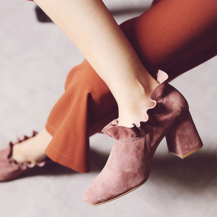 Sell New Small Fresh Retro Ruffles Suede Ankle Boots Women Thick Heels Square Toe High Heel Shoes Banquet Party Boots