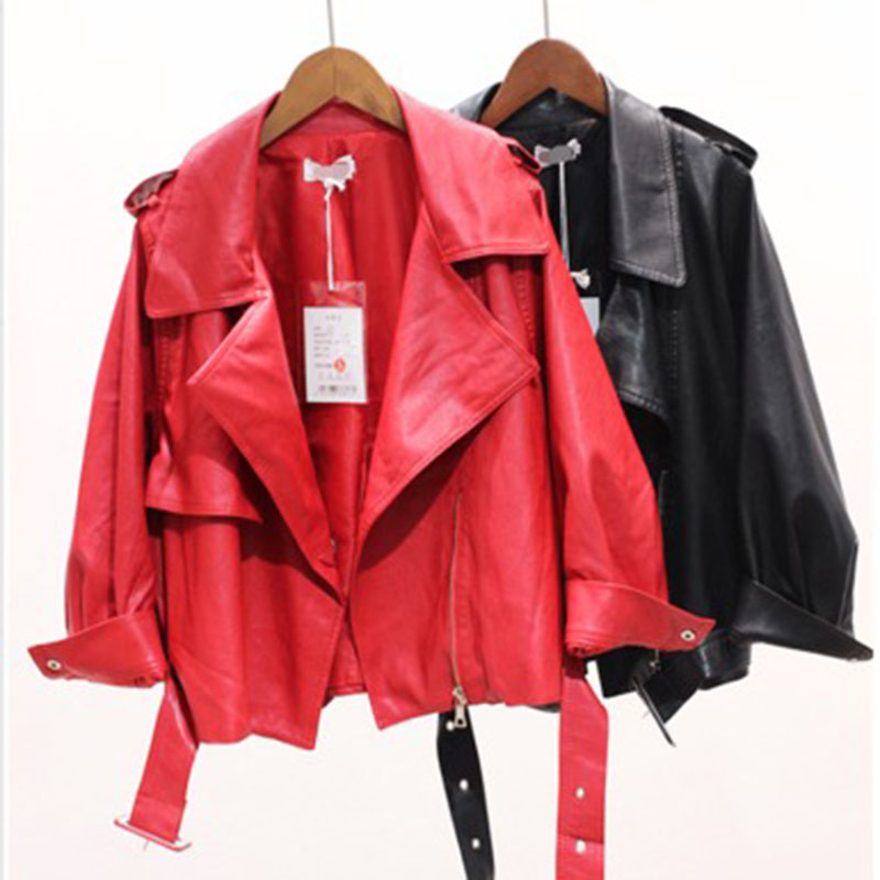 Jacket women's new style spring and autumn ladies casual   leather   jacket short pu   leather   jacket lapel female fuo coat