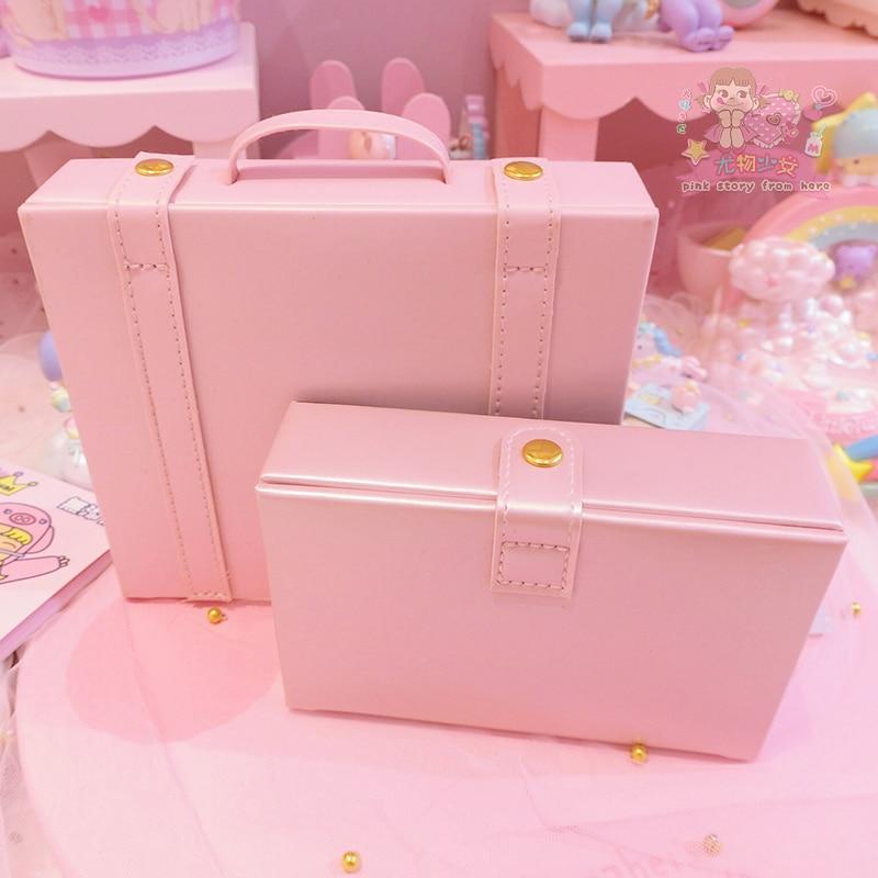 1pc Small Pink Leather Box Girls Comestic Box Doll Kit Jewellery Storage Box Doll's Handbag For Girls Dolls Accessories