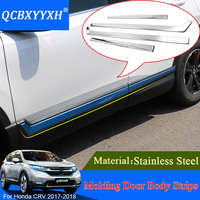 Car Styling Stainless Steel 4pcs Sequins For Honda CRV 2017 2018 Chrome Door Side Body Molding Line Body Kits Cover Trim Strip