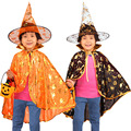 Wholesale Children Halloween Costume for Kids Pumpkin Cloak Dance Wear Boys and Girls Party Performance Witch Cape with Hat