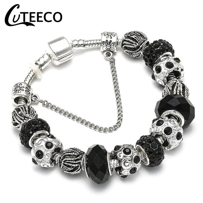 CUTEECO Charm Bracelet Silver Plated Hollow Murano Beads Fit 2018 Hot Selling Original Brand Bracelets for Women Jewelry пандора браслет с шармами