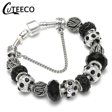CUTEECO Charm Bracelet Silver Plated Hollow Murano Beads Fit 2018 Hot Selling Original Brand Bracelets for Women Jewelry