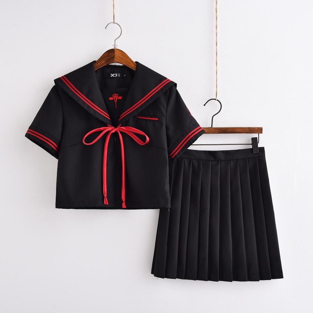 Broderie démon foncé uniformes scolaires pour filles Anime Cosplay Costumes JK marin uniformes S-XL haut et jupe plissée