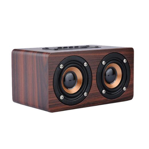 50Pcs Portable Retro Wireless Bluetooth Speaker Wood With MIC HIFI Music Center Column Sound Box For Phone Computer PC Subwoofer