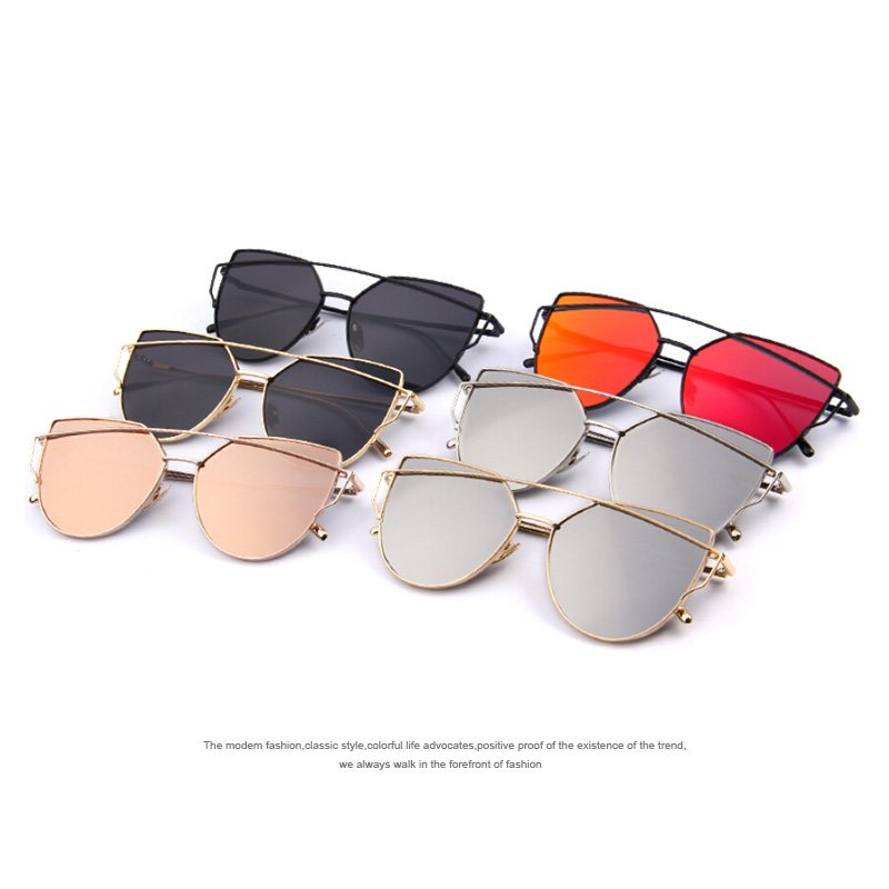 575056cf73 Aliexpress.com   Buy MERRYS Fashion Women Cat Eye Sunglasses Classic Brand  Designer Twin Beams Sunglasses Coating Mirror Flat Panel Lens S7882 from  Reliable ...