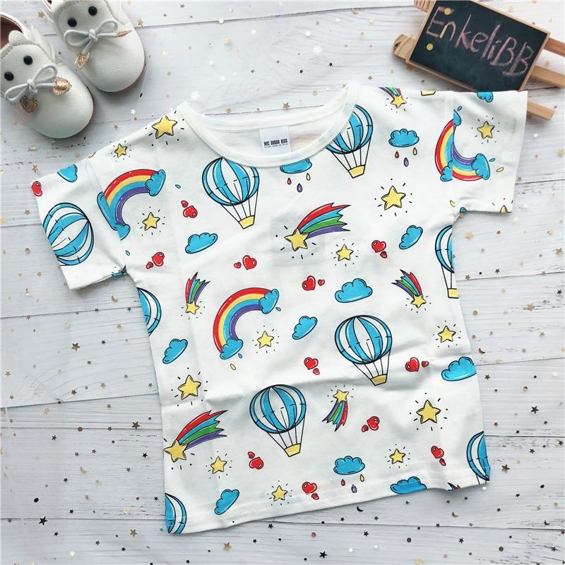 EnkeliBB 100% Cotton Toddler Boys/Girls Cartoon T-shirt Children Summer Lovely Tops Girls White T Shirt Rainbow Pattern Tees