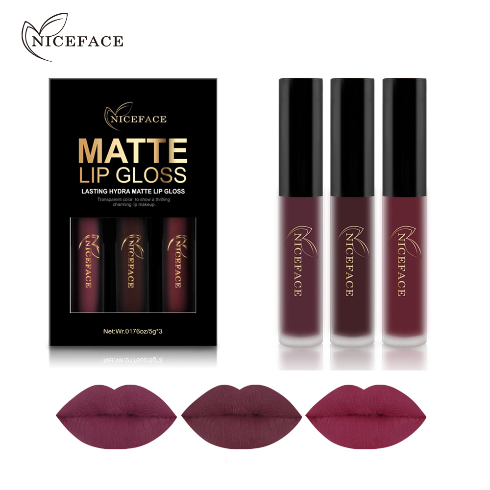 NICEFACE 3PCS Gincu Cecair Set Long-Lasting Matte Lip Stick membuat Up Velvet Velvet Batom Nude Sexy Lip Gloss Kosmetik Kit
