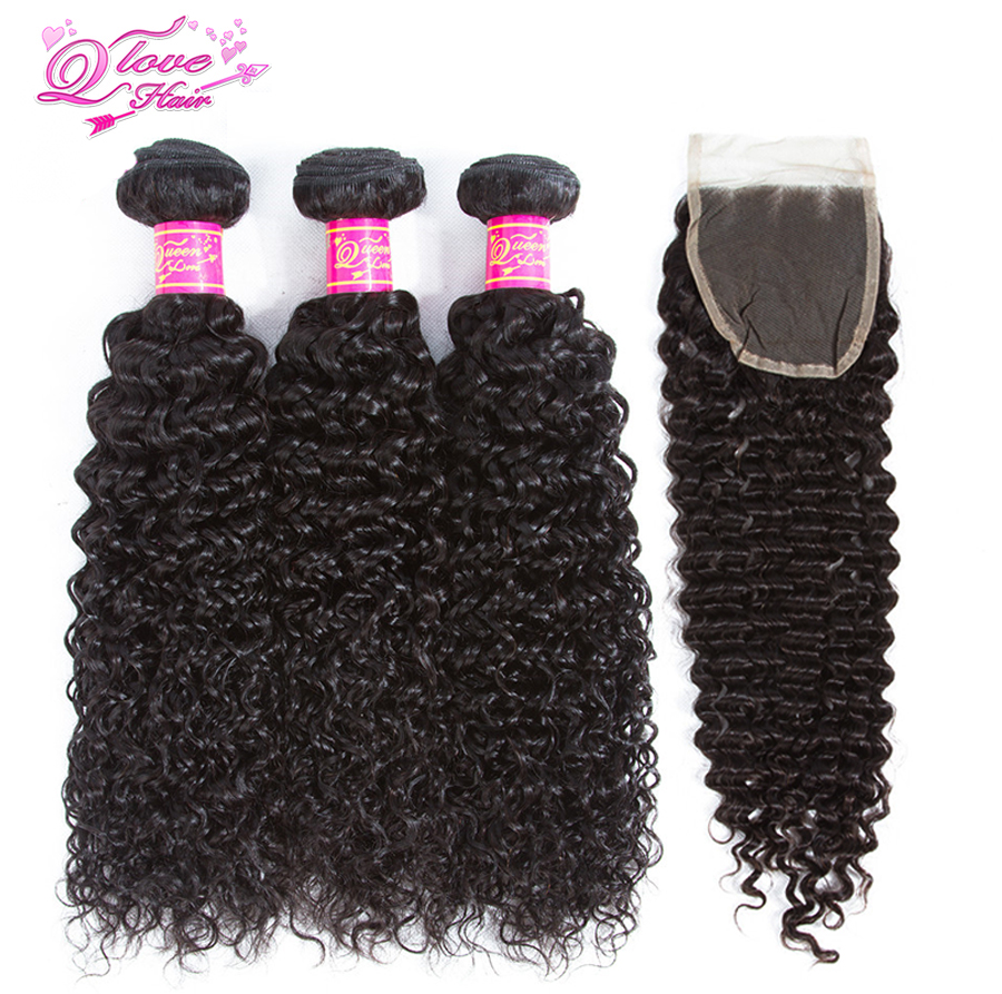 Queen Love Hair Kinky Curly Weave Human Hair Bundles With Lace Closure Remy Brazilian Hair Weave