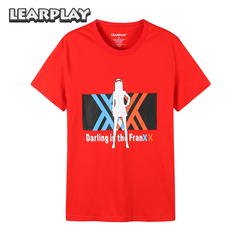 Anime Darling In The FranXX T-shirt Zero Two Cotton O-Neck Shirts Summer Red Short Sleeve Tops Basic Tee For Men Women