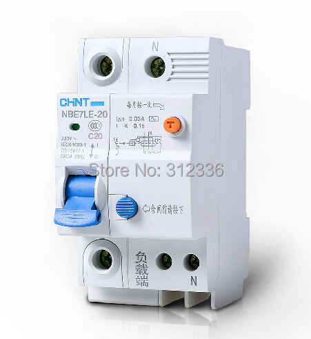 цена на Free Shipping Two years Warranty LE C20 1P+N 20A 1 pole ELCB RCD earth leakage circuit breaker residual current